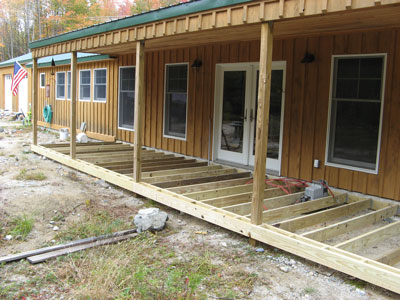 October 2007. Building the Porch Deck Framing | Downeast Thunder Farm