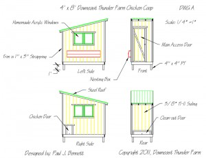 free chicken coop plans from Downeast Thunder Farm