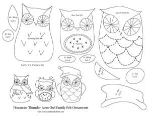 Owl Family Felt Ornament Patterns