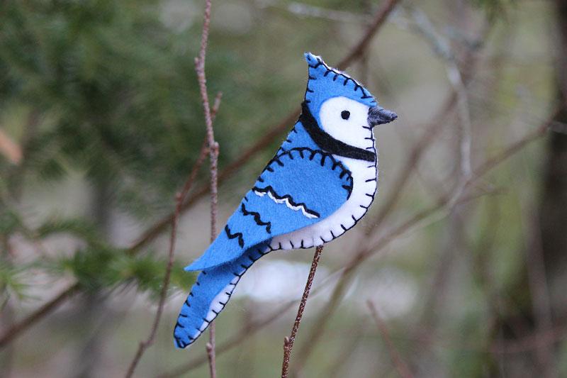 Bold Blue Jay Felt Ornament | Downeast Thunder Farm