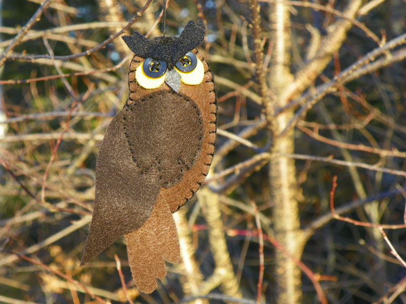 Great Horned Owl Felt Ornament