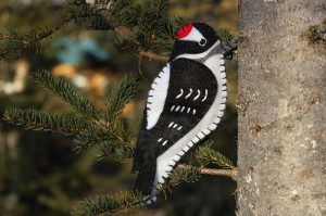felt woodpecker ornament