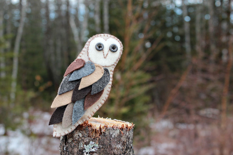 Feathery Felt Barn Owl Ornament Downeast Thunder Farm