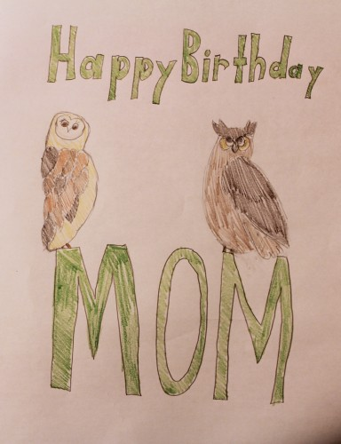 hannah's hand drawn birthday card