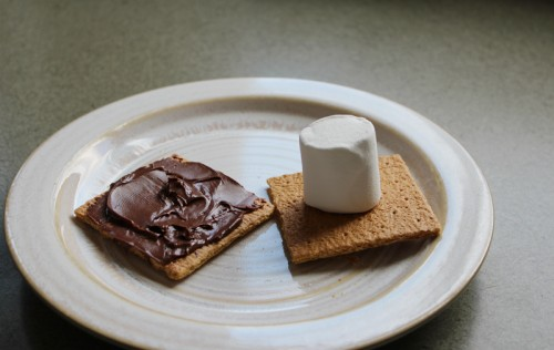start with graham crackers, Nutella and marshmallo