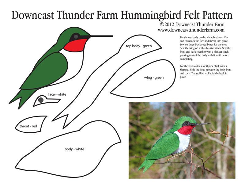 Hummingbird Ornament Felt Pattern - OCCASIONS AND HOLIDAYS
