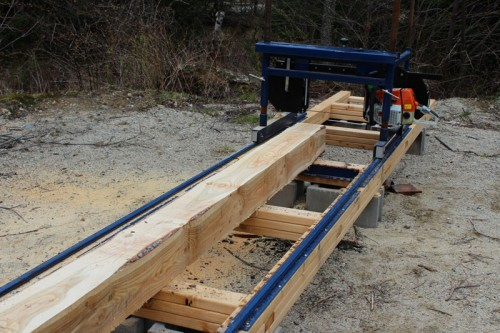 beam cut with the ripsaw portable sawmill