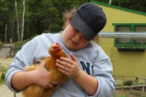 Hannah and her favorite Buff Orpington, Little