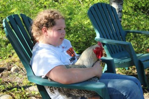 Hannah and our rooster the Colonel