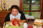 Hannah with her birthday lobster