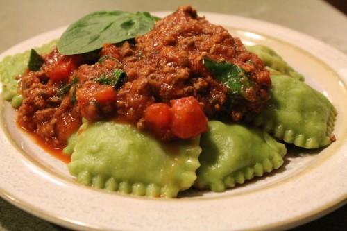Hannah's handmade spinach ravioli with meat sauce