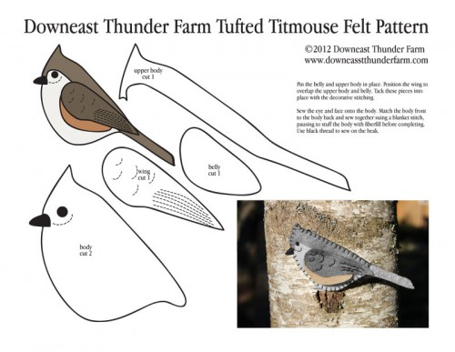 tufted titmouse felt pattern