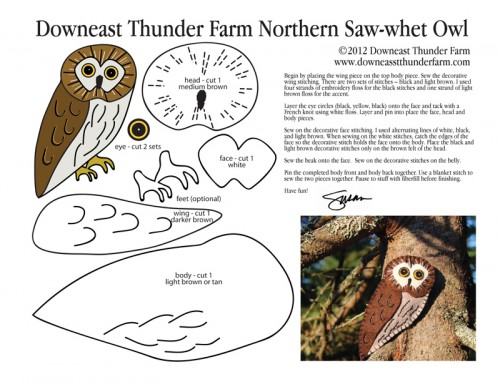 Northern Saw-when Owl Ornament Pattern