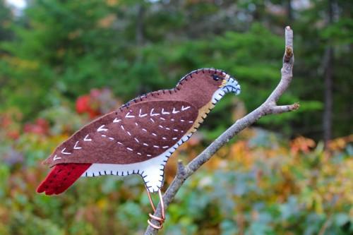 Red Tail Hawk Felt Ornament