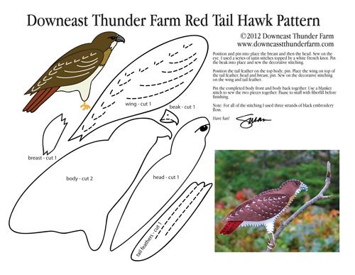 Red Tail Hawk Felt Ornament Pattern