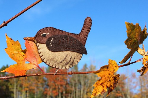 Winter Wren Felt Ornament