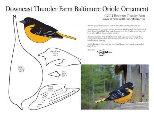 Baltimore Oriole Free Felt Ornament Pattern