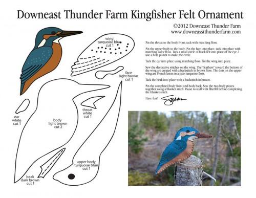 Common Kingfisher Felt Ornament Pattern