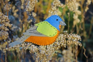 Painted Bunting Felt Ornament