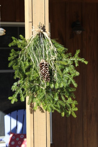 balsam fir, pine cone, birch and raffia swags