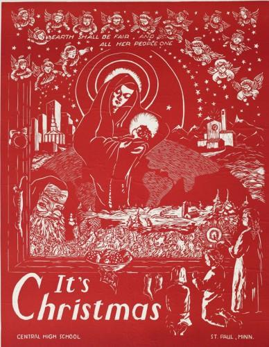 Christmas Woodblock Print
