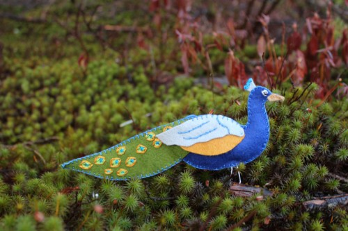 Peacock felt ornamemet