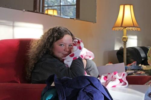Hannah and her polka-dot bathrobe