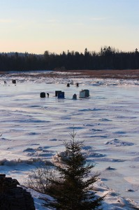 Ice Huts on the Pleasant River