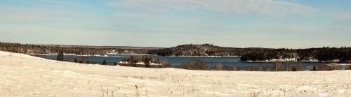 Snowy Maine Coastal Panorama