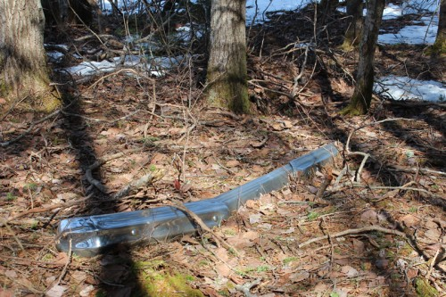 In our survey for which trees to take down, we stumbled upon this bumper left in our woods. Huh.