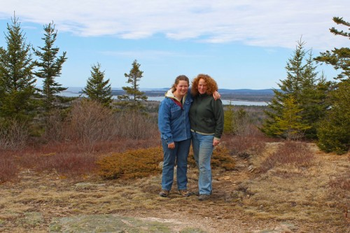 mother daughter picture with Cadillac Mountain the background