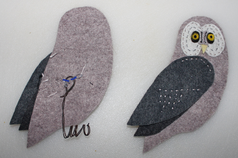 Adding Wire Feet To Your Felt Birds