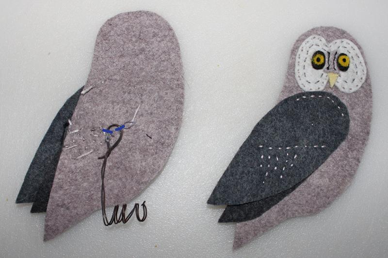 Adding Wire Feet To Your Felt Birds