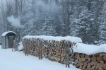 Wood Boiler on a Snowy Morning