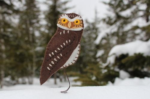 burrowing owl felt ornament