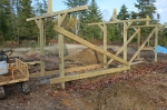 With all three frames in, we braced it with decking and didn't revisit the structure until the spring.