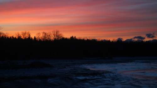 cold sunrise over mill river