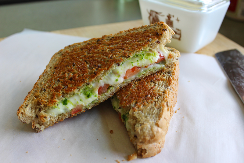 Grilled Cheese with Spicy Green Sauce