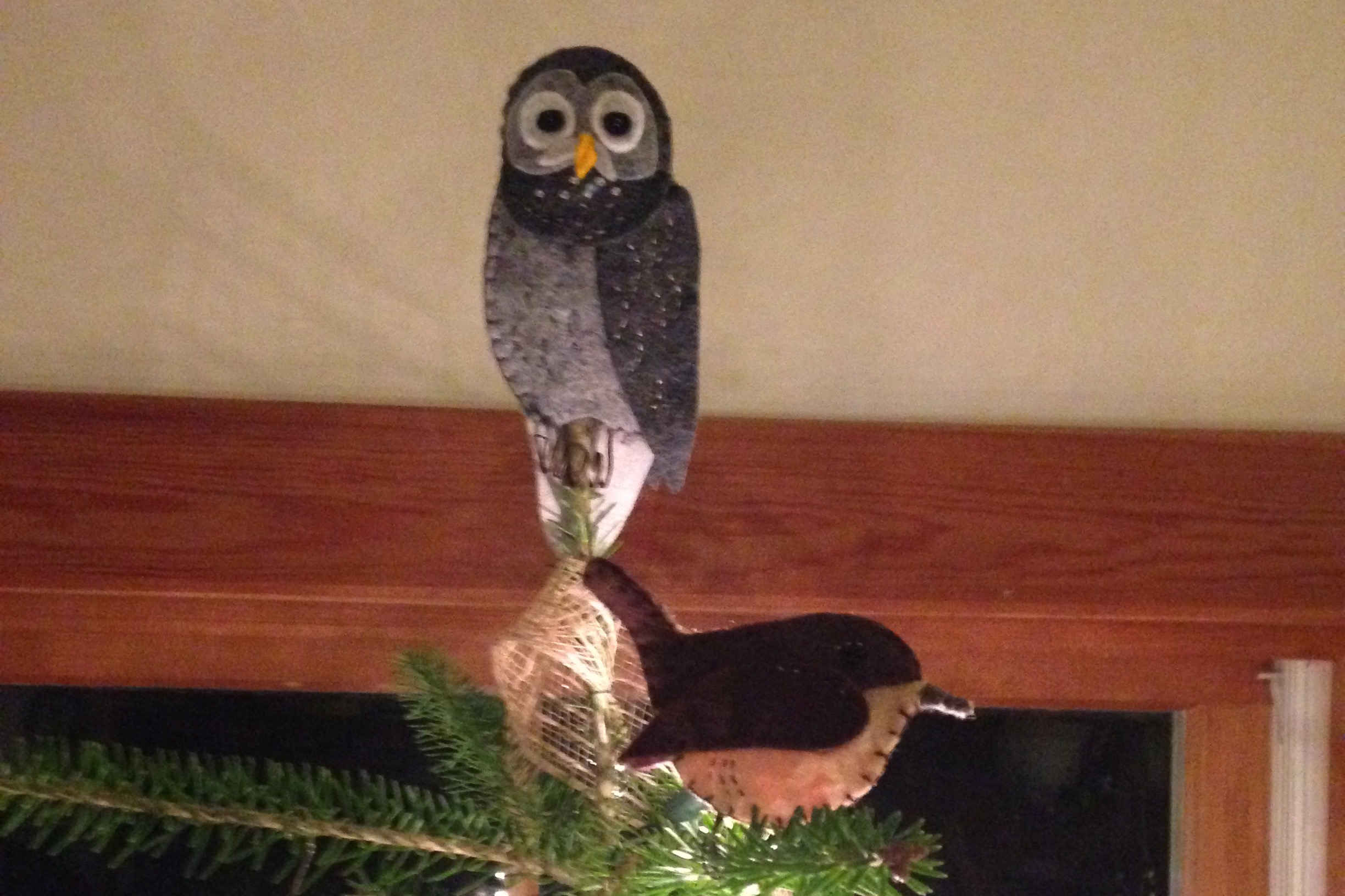 ive been working on for the passed two weeks my favorite being the barred owl tree topper