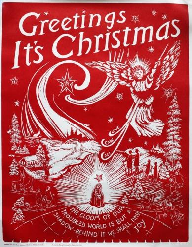 elizabeth stroble linoleum block print christmas poster