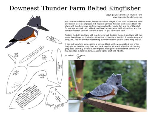 belted kingfisher pdf pattern printable