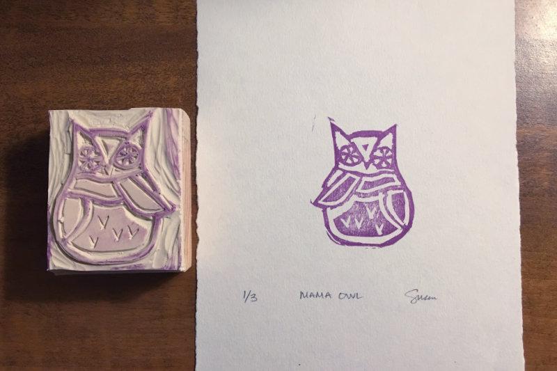 Block Print Owl