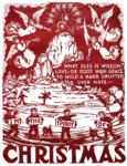 christmas linoleum block poster