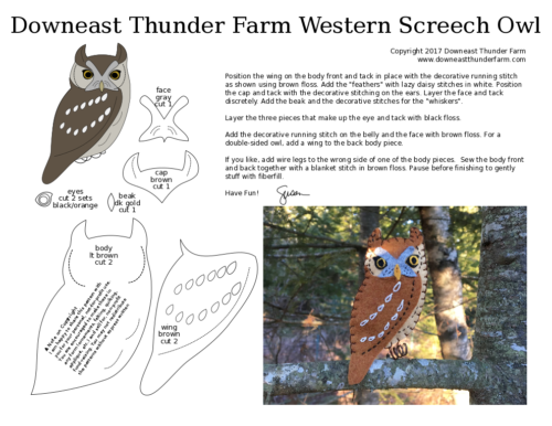 printable western screech owl pattern
