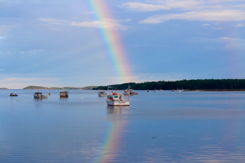 rainbow over the narraguagus river in milbridge
