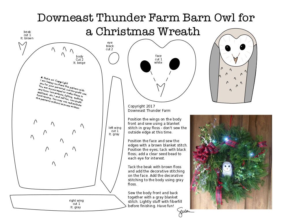 Printable Barn Owl Face Pattern from Downeast Thunder Farm