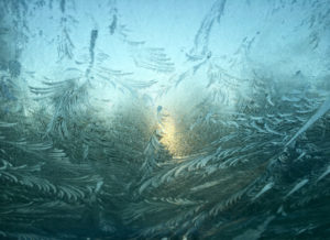 sunrise through frosted window