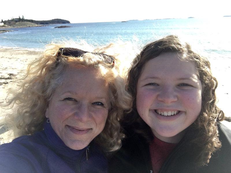 mother daughter beach hike