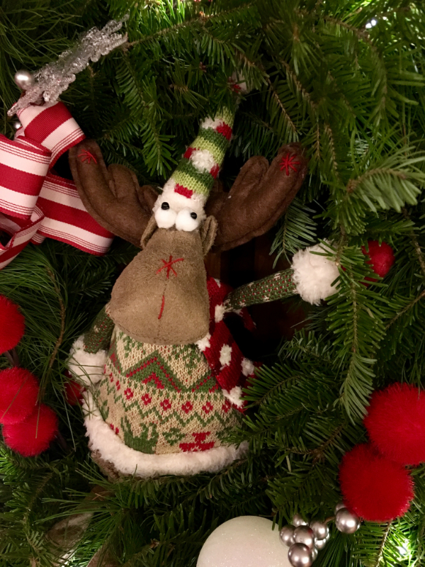 A colorful moose decoration used in a Christmas Wreath at Downeast Thunder Farm