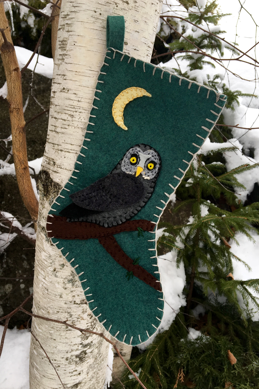 Felt Christmas Stocking from Downeast Thunder Farm